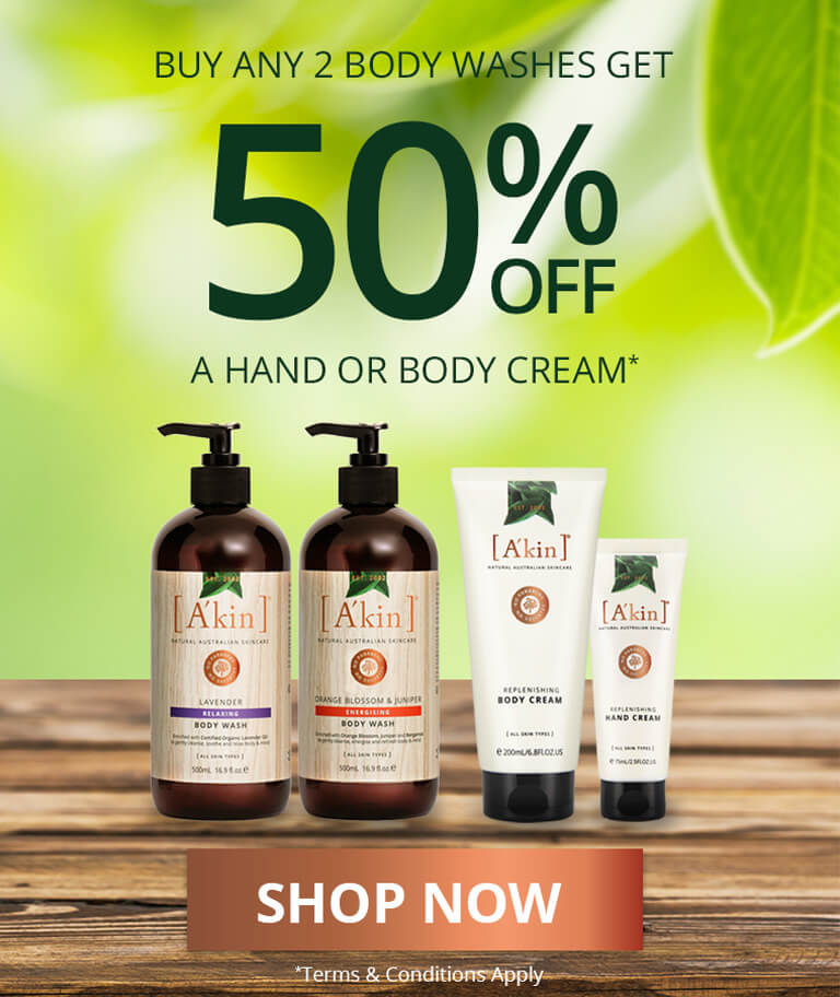 Buy any 2 A'kin Body Washes and get 50% off a hand or body cream*