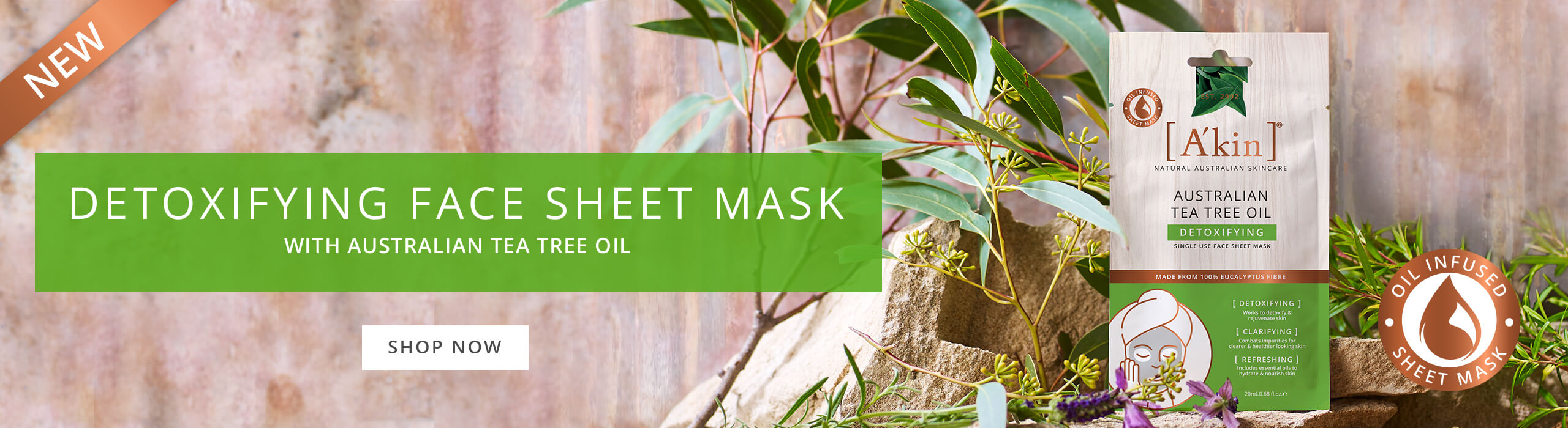 A'kin Australian Tea Tree Oil Detoxifying Face Sheet Mask